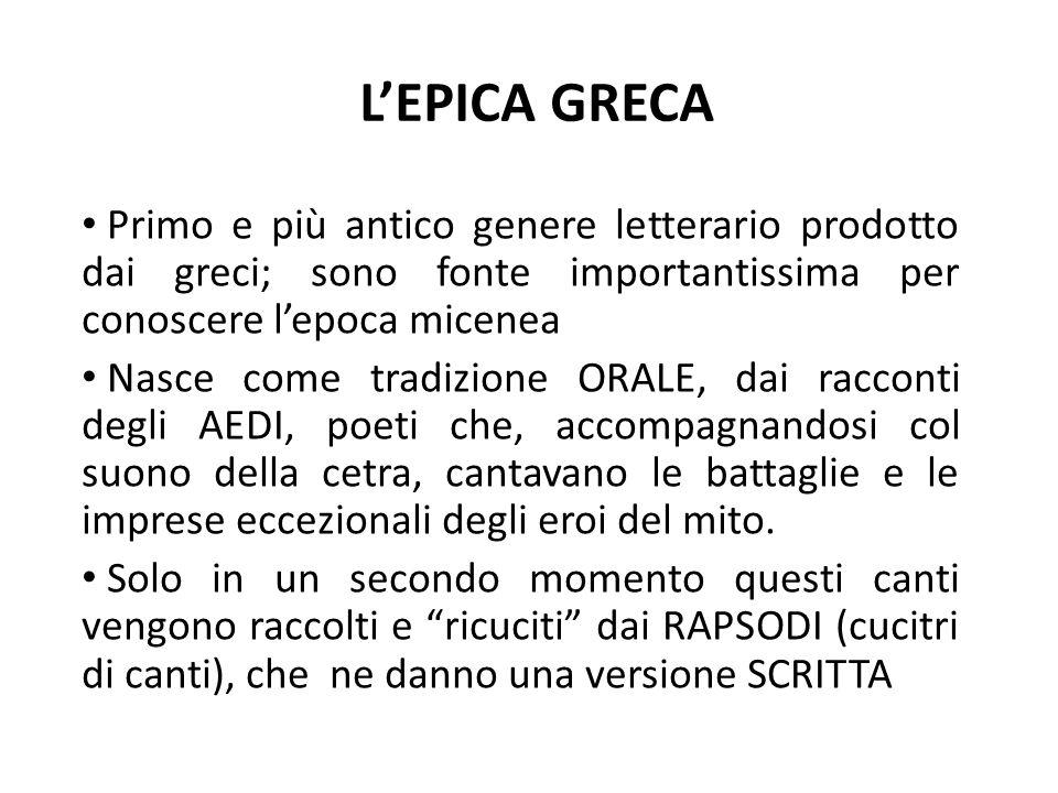 L'EPICA GRECA Primo e più antico genere letterario prodotto dai greci; sono fonte importantissima per conoscere l'epoca micenea Nasce come tradizione