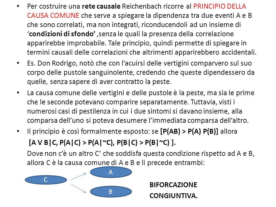 Per costruire una rete causale Reichenbach ricorre al PRINCIPIO DELLA CAUSA COMUNE che serve a spiegare la dipendenza tra due eventi A e B che sono correlati, ma non integrati, riconducendoli ad un insieme di 'condizioni di sfondo',senza le quali la presenza della correlazione apparirebbe improbabile.