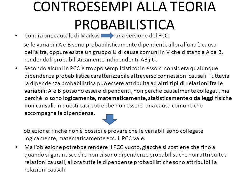 CONTROESEMPI ALLA TEORIA PROBABILISTICA Condizione causale di Markov una versione del PCC: se le variabili A e B sono probabilisticamente dipendenti, allora l'una è causa dell'altra, oppure esiste un gruppo U di cause comuni in V che distanzia A da B, rendendoli probabilisticamente indipendenti, AB j U.