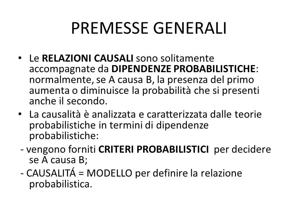 PREMESSE GENERALI Le RELAZIONI CAUSALI sono solitamente accompagnate da DIPENDENZE PROBABILISTICHE: normalmente, se A causa B, la presenza del primo aumenta o diminuisce la probabilità che si presenti anche il secondo.
