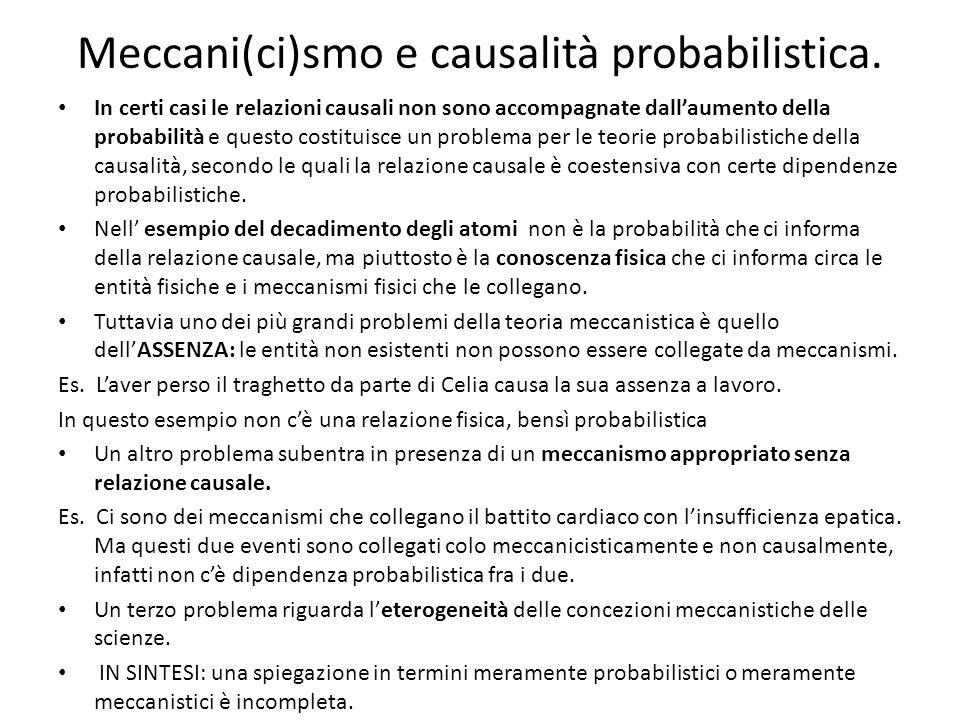 Meccani(ci)smo e causalità probabilistica.