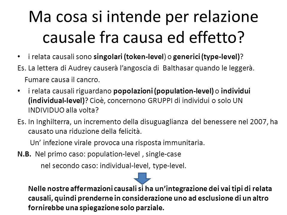 Ma cosa si intende per relazione causale fra causa ed effetto.