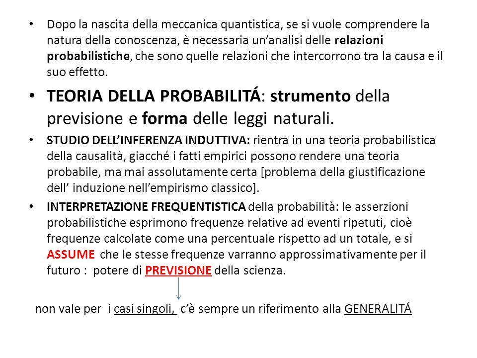 TEORIA FREQUENTISTICA DELLA PROBABILITÁ: non ricorre alla nozione di causa.