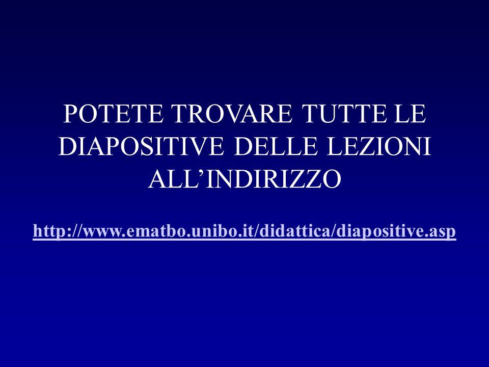 POTETE TROVARE TUTTE LE DIAPOSITIVE DELLE LEZIONI ALL'INDIRIZZO http://www.ematbo.unibo.it/didattica/diapositive.asp