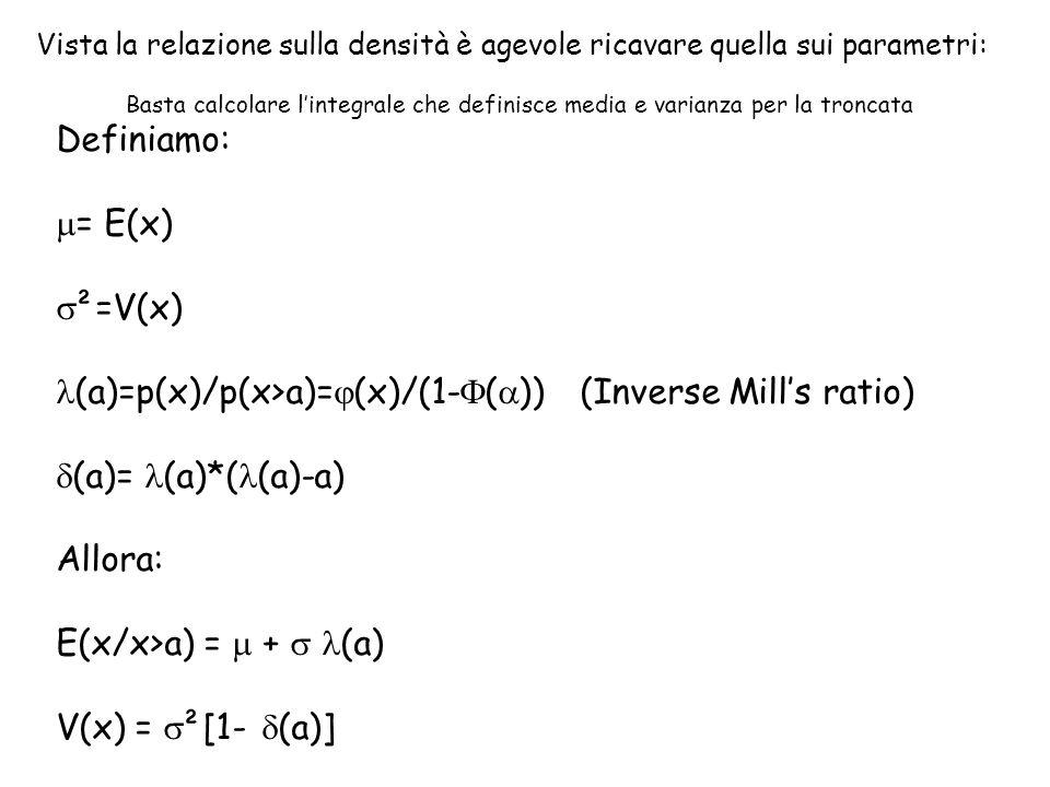 Vista la relazione sulla densità è agevole ricavare quella sui parametri: Basta calcolare l'integrale che definisce media e varianza per la troncata D