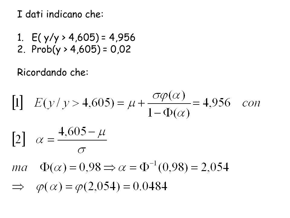 I dati indicano che: 1.E( y/y > 4,605) = 4,956 2.Prob(y > 4,605) = 0,02 Ricordando che: