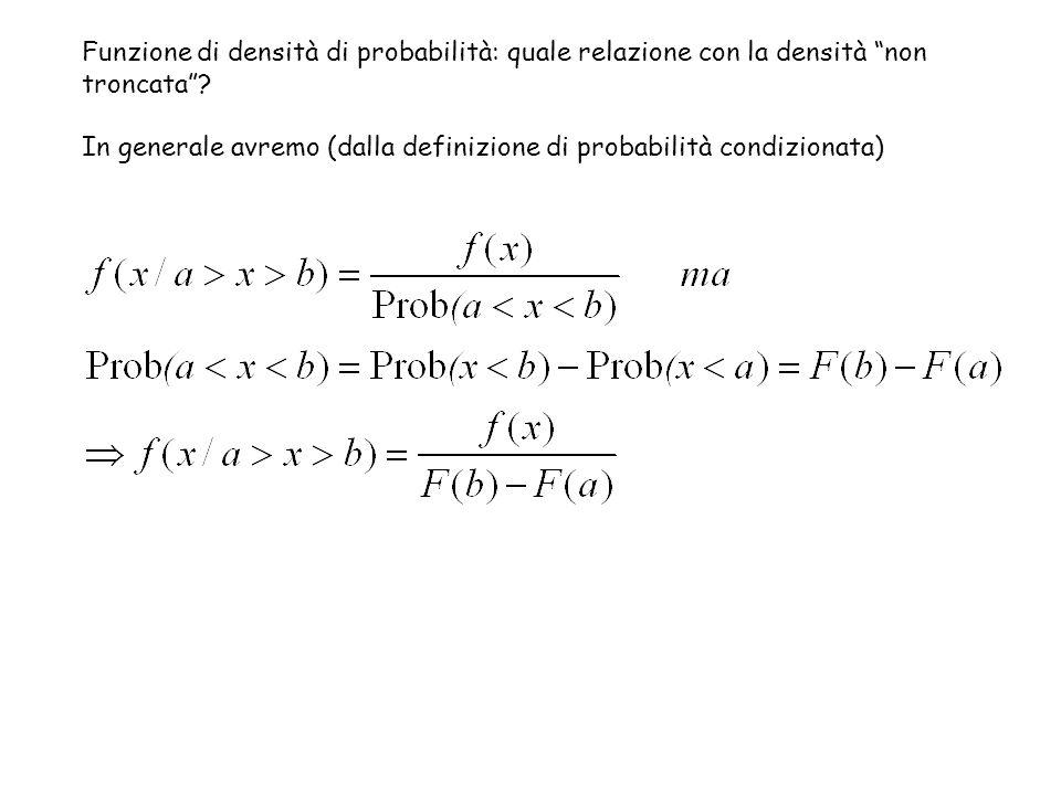 """Funzione di densità di probabilità: quale relazione con la densità """"non troncata""""? In generale avremo (dalla definizione di probabilità condizionata)"""