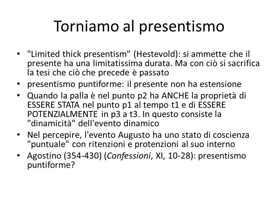 Torniamo al presentismo Limited thick presentism (Hestevold): si ammette che il presente ha una limitatissima durata.
