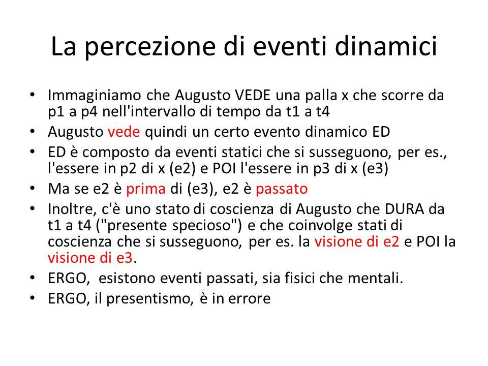 La percezione di eventi dinamici Immaginiamo che Augusto VEDE una palla x che scorre da p1 a p4 nell intervallo di tempo da t1 a t4 Augusto vede quindi un certo evento dinamico ED ED è composto da eventi statici che si susseguono, per es., l essere in p2 di x (e2) e POI l essere in p3 di x (e3) Ma se e2 è prima di (e3), e2 è passato Inoltre, c è uno stato di coscienza di Augusto che DURA da t1 a t4 ( presente specioso ) e che coinvolge stati di coscienza che si susseguono, per es.