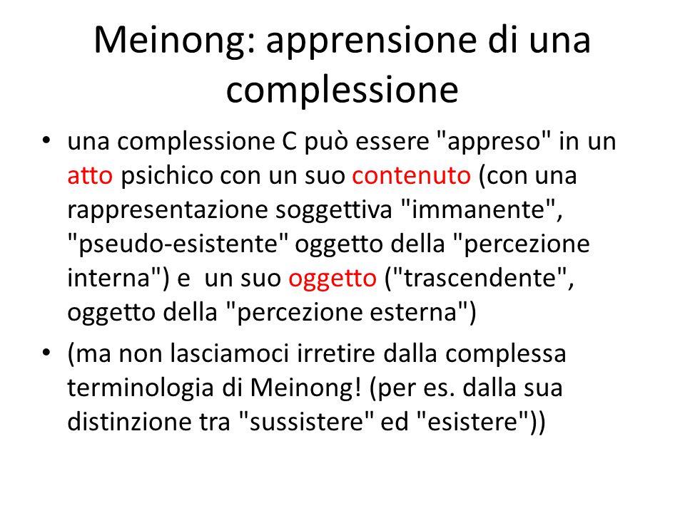 Meinong: apprensione di una complessione una complessione C può essere appreso in un atto psichico con un suo contenuto (con una rappresentazione soggettiva immanente , pseudo-esistente oggetto della percezione interna ) e un suo oggetto ( trascendente , oggetto della percezione esterna ) (ma non lasciamoci irretire dalla complessa terminologia di Meinong.