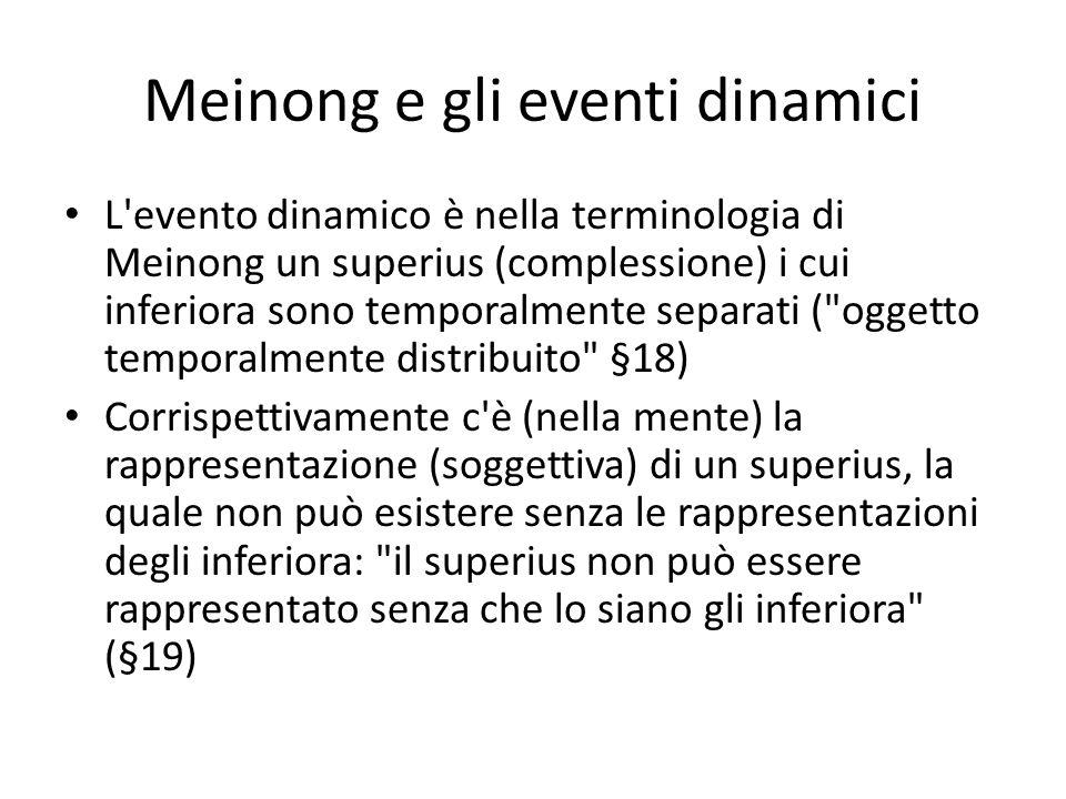 Meinong e gli eventi dinamici L evento dinamico è nella terminologia di Meinong un superius (complessione) i cui inferiora sono temporalmente separati ( oggetto temporalmente distribuito §18) Corrispettivamente c è (nella mente) la rappresentazione (soggettiva) di un superius, la quale non può esistere senza le rappresentazioni degli inferiora: il superius non può essere rappresentato senza che lo siano gli inferiora (§19)