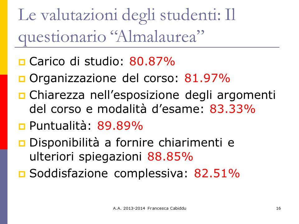 """Le valutazioni degli studenti: Il questionario """"Almalaurea""""  Carico di studio: 80.87%  Organizzazione del corso: 81.97%  Chiarezza nell'esposizione"""
