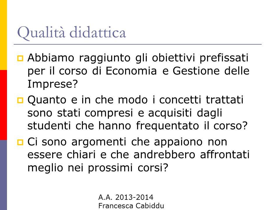 A.A. 2013-2014 Francesca Cabiddu Qualità didattica  Abbiamo raggiunto gli obiettivi prefissati per il corso di Economia e Gestione delle Imprese?  Q