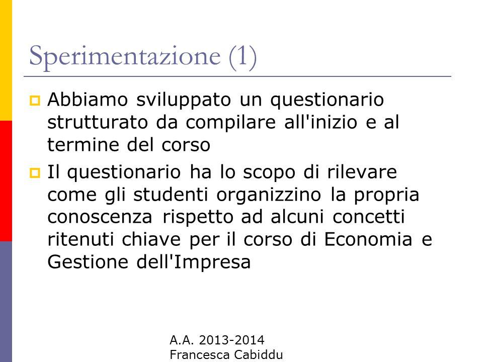 A.A. 2013-2014 Francesca Cabiddu Sperimentazione (1)  Abbiamo sviluppato un questionario strutturato da compilare all'inizio e al termine del corso 