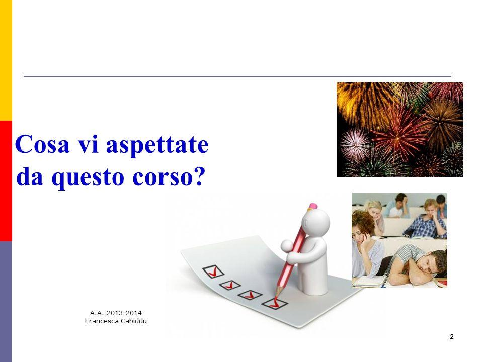 A.A. 2013-2014 Francesca Cabiddu 2 Cosa vi aspettate da questo corso?