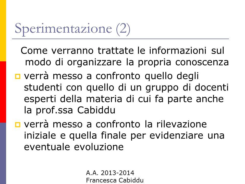A.A. 2013-2014 Francesca Cabiddu Sperimentazione (2) Come verranno trattate le informazioni sul modo di organizzare la propria conoscenza  verrà mess