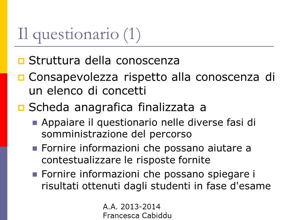 A.A. 2013-2014 Francesca Cabiddu Il questionario (1)  Struttura della conoscenza  Consapevolezza rispetto alla conoscenza di un elenco di concetti 