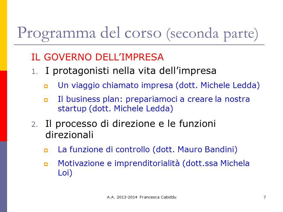 A.A. 2013-2014 Francesca Cabiddu7 Programma del corso (seconda parte) IL GOVERNO DELL'IMPRESA 1. I protagonisti nella vita dell'impresa  Un viaggio c