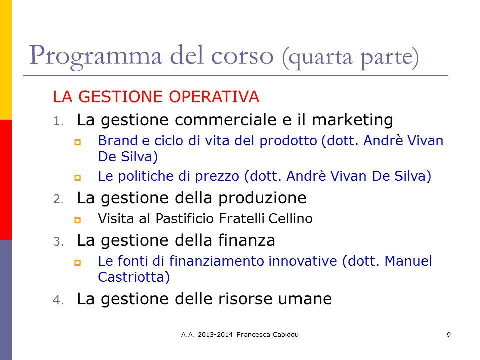 9 Programma del corso (quarta parte) LA GESTIONE OPERATIVA 1. La gestione commerciale e il marketing  Brand e ciclo di vita del prodotto (dott. Andrè