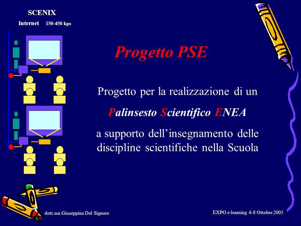 Progetto per la realizzazione di un Palinsesto Scientifico ENEA a supporto dell'insegnamento delle discipline scientifiche nella Scuola dott.ssa.Giuseppina Del Signore Progetto PSE Internet 150-450 kpsSCENIX EXPO e-learning 6-8 Ottobre 2005
