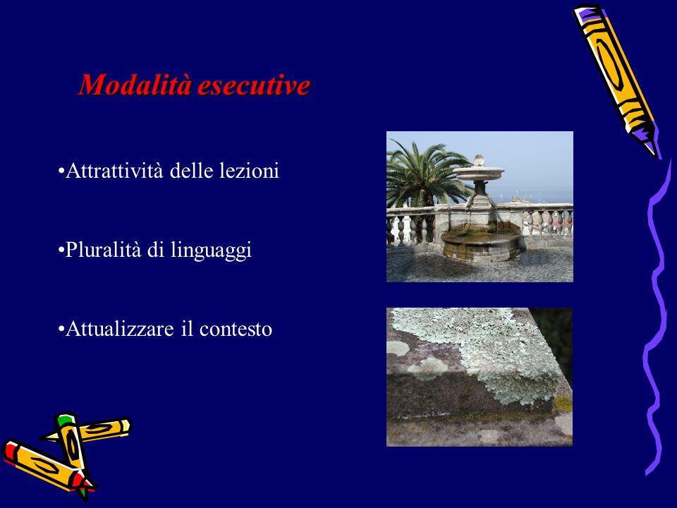 Modalità esecutive Attrattività delle lezioni Pluralità di linguaggi Attualizzare il contesto