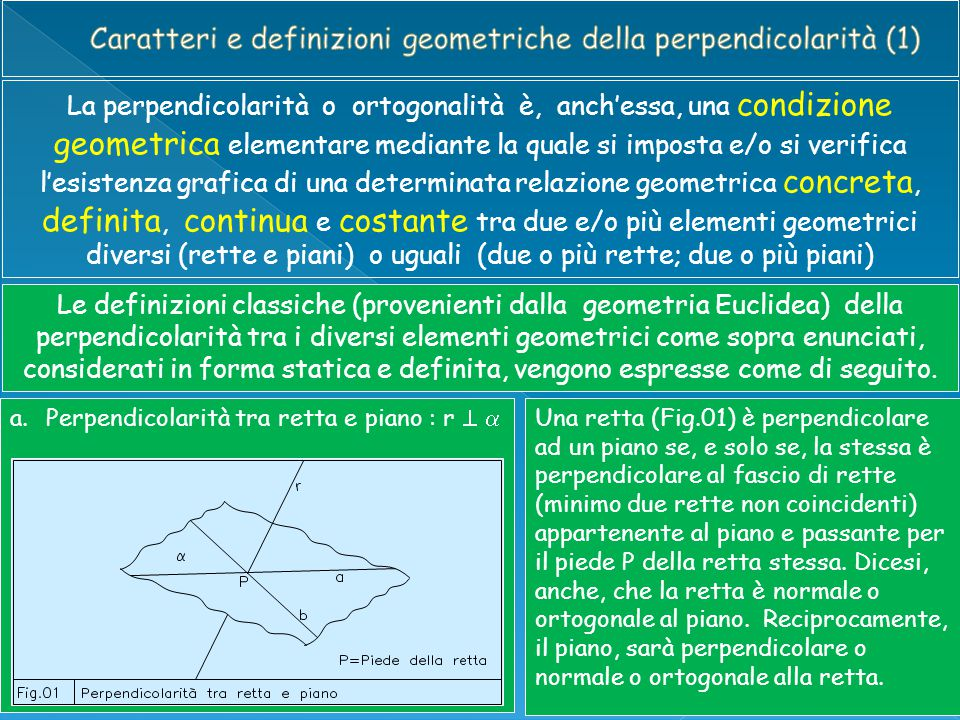 La perpendicolarità o ortogonalità è, anch'essa, una condizione geometrica elementare mediante la quale si imposta e/o si verifica l'esistenza grafica
