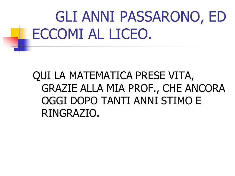 GLI ANNI PASSARONO, ED ECCOMI AL LICEO.