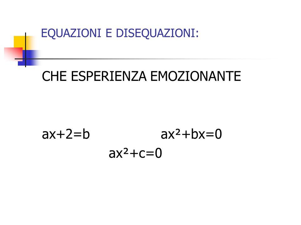 EQUAZIONI E DISEQUAZIONI: CHE ESPERIENZA EMOZIONANTE ax+2=b ax²+bx=0 ax²+c=0