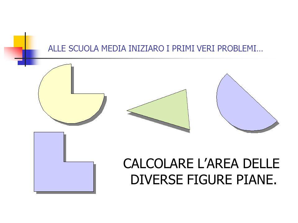 ALLE SCUOLA MEDIA INIZIARO I PRIMI VERI PROBLEMI… CALCOLARE L'AREA DELLE DIVERSE FIGURE PIANE.