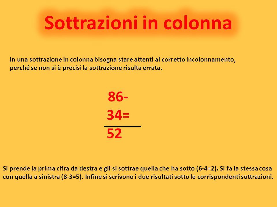 In una sottrazione in colonna bisogna stare attenti al corretto incolonnamento, perché se non si è precisi la sottrazione risulta errata. 86- 34= 52 S