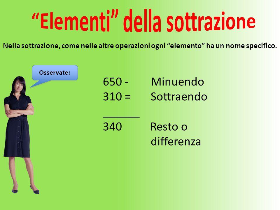 """650 - Minuendo 310 = Sottraendo ______ 340 Resto o differenza Nella sottrazione, come nelle altre operazioni ogni """"elemento"""" ha un nome specifico. Oss"""