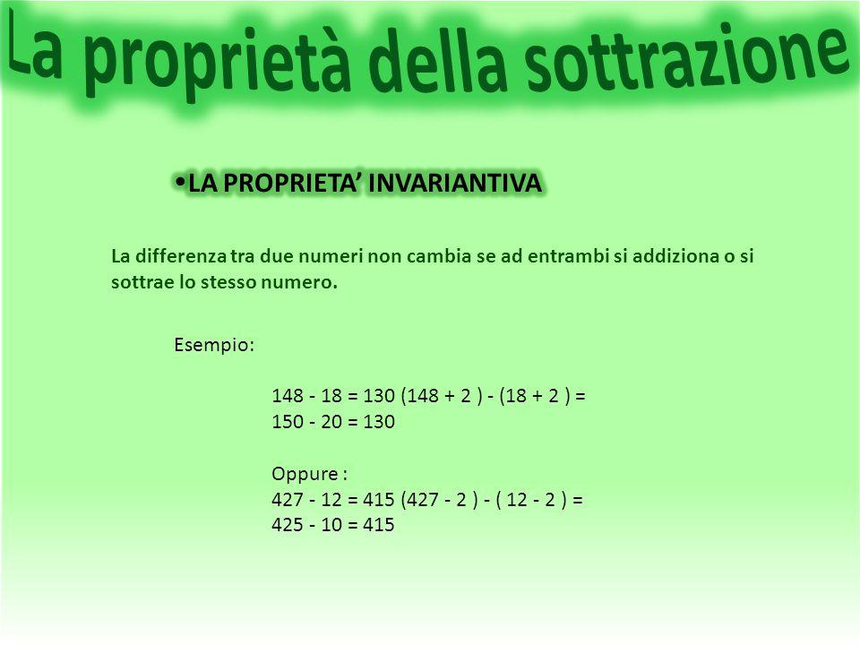 La differenza tra due numeri non cambia se ad entrambi si addiziona o si sottrae lo stesso numero. Esempio: 148 - 18 = 130 (148 + 2 ) - (18 + 2 ) = 15