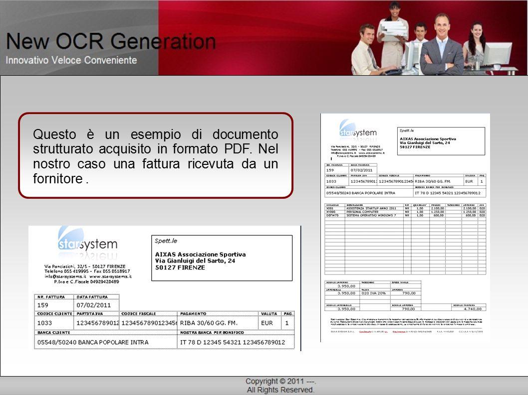 Questo è un esempio di documento strutturato acquisito in formato PDF.
