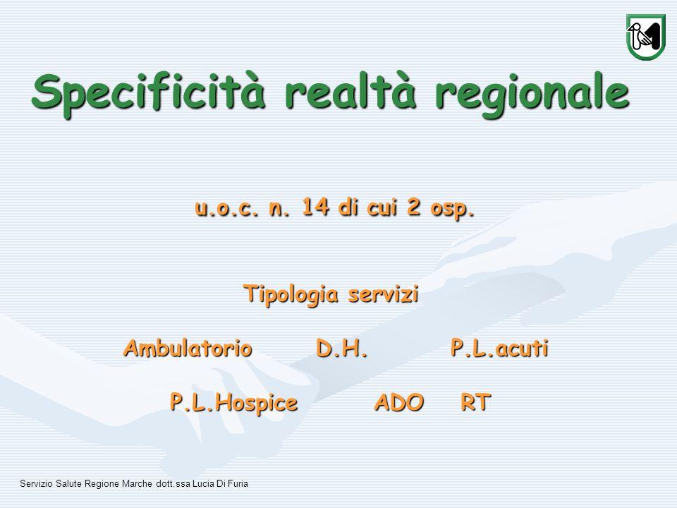 Specificità realtà regionale u.o.c. n. 14 di cui 2 osp.