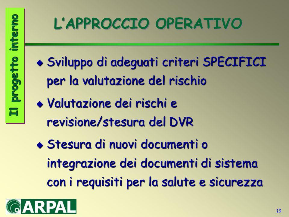 13 L'APPROCCIO OPERATIVO  Sviluppo di adeguati criteri SPECIFICI per la valutazione del rischio  Valutazione dei rischi e revisione/stesura del DVR
