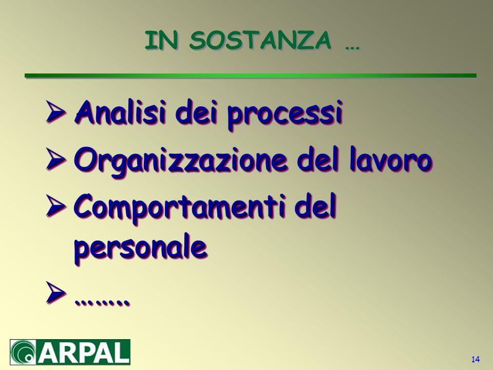 14 IN SOSTANZA …  Analisi dei processi  Organizzazione del lavoro  Comportamenti del personale  ……..  Analisi dei processi  Organizzazione del l