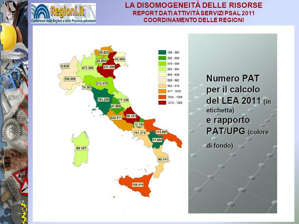 24 LA DISOMOGENEITÀ DELLE RISORSE REPORT DATI ATTIVITÀ SERVIZI PSAL 2011 COORDINAMENTO DELLE REGIONI