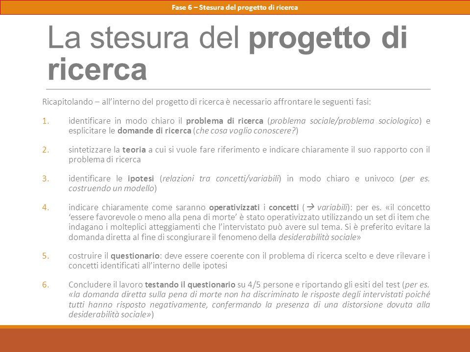 La stesura del progetto di ricerca Ricapitolando – all'interno del progetto di ricerca è necessario affrontare le seguenti fasi: 1.identificare in mod