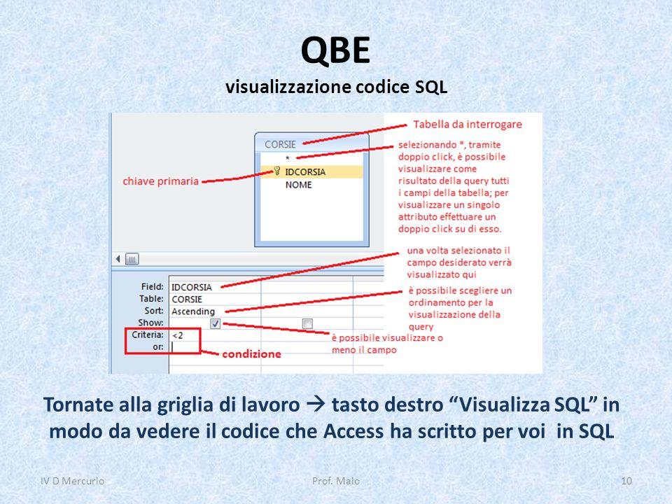 """QBE visualizzazione codice SQL IV D Mercurio10Prof. Maio Tornate alla griglia di lavoro  tasto destro """"Visualizza SQL"""" in modo da vedere il codice ch"""