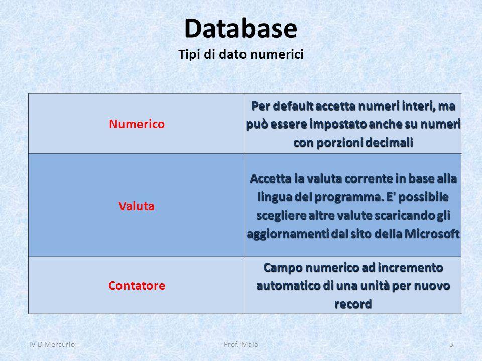 Database Tipi di dato numerici IV D Mercurio3Prof. Maio Numerico Per default accetta numeri interi, ma può essere impostato anche su numeri con porzio