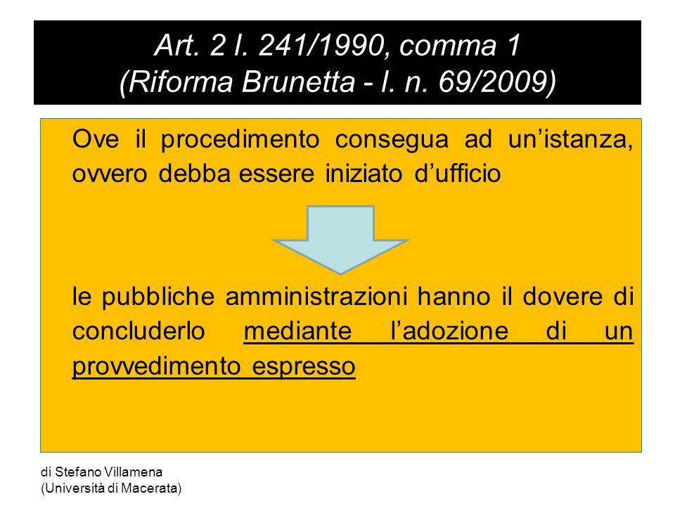 Art. 2 l. 241/1990, comma 1 (Riforma Brunetta - l.