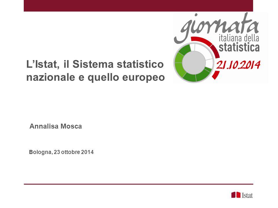 L'Istat, il Sistema statistico nazionale e quello europeo Annalisa Mosca Bologna, 23 ottobre 2014