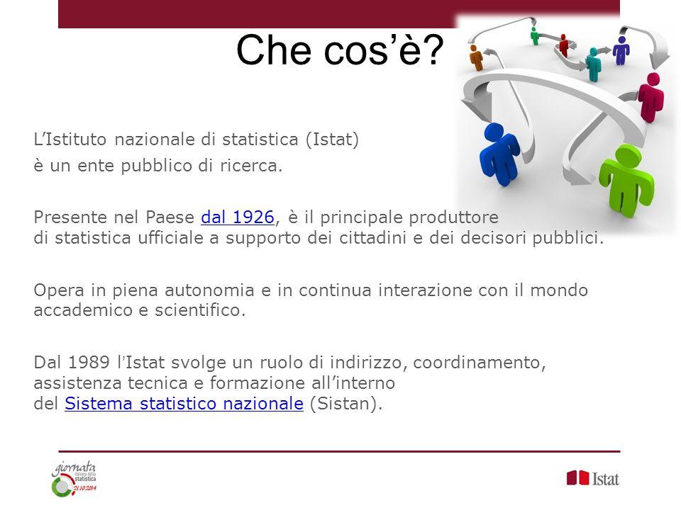 Che cos'è? L'Istituto nazionale di statistica (Istat) è un ente pubblico di ricerca. Presente nel Paese dal 1926, è il principale produttore di statis