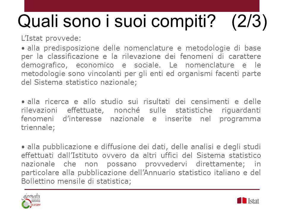 L'Istat provvede: alla predisposizione delle nomenclature e metodologie di base per la classificazione e la rilevazione dei fenomeni di carattere demo