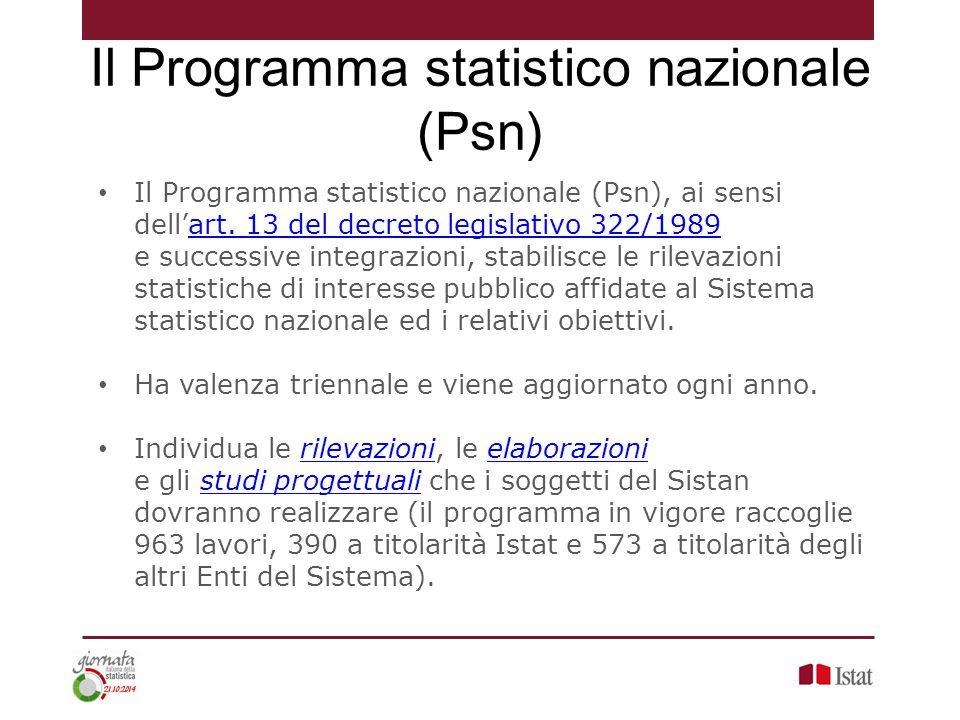 Il Programma statistico nazionale (Psn), ai sensi dell'art. 13 del decreto legislativo 322/1989 e successive integrazioni, stabilisce le rilevazioni s