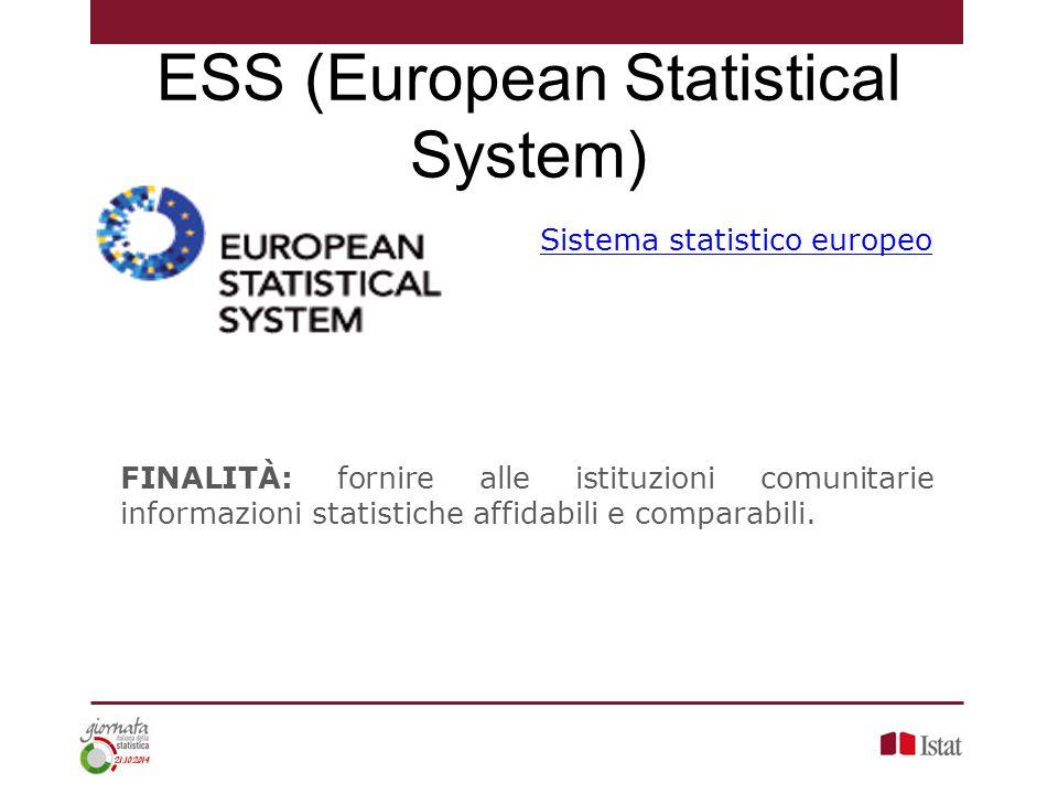 Sistema statistico europeo FINALITÀ: fornire alle istituzioni comunitarie informazioni statistiche affidabili e comparabili. ESS (European Statistical
