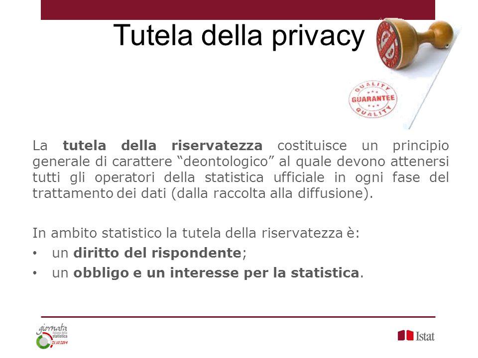 """La tutela della riservatezza costituisce un principio generale di carattere """"deontologico"""" al quale devono attenersi tutti gli operatori della statist"""
