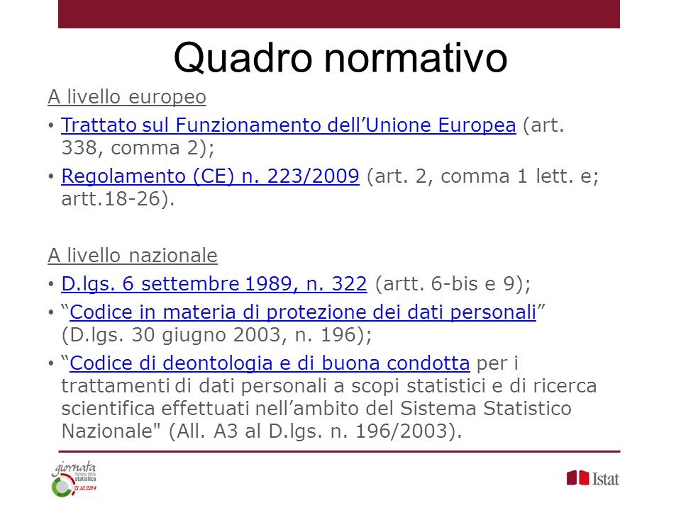 A livello europeo Trattato sul Funzionamento dell'Unione Europea (art. 338, comma 2); Trattato sul Funzionamento dell'Unione Europea Regolamento (CE)