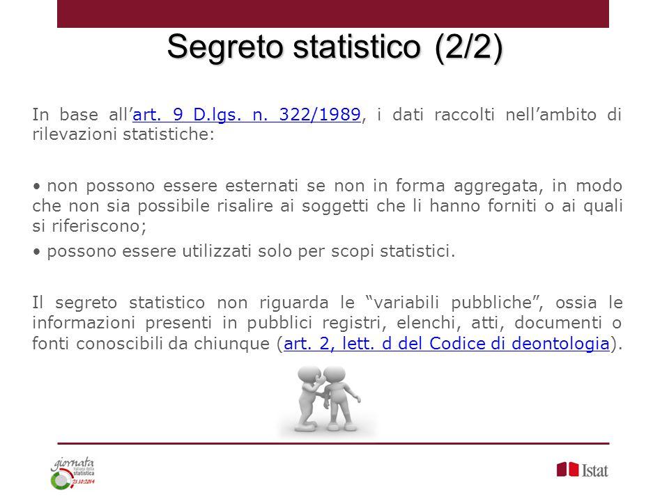 In base all'art. 9 D.lgs. n. 322/1989, i dati raccolti nell'ambito di rilevazioni statistiche:art. 9 D.lgs. n. 322/1989 non possono essere esternati s