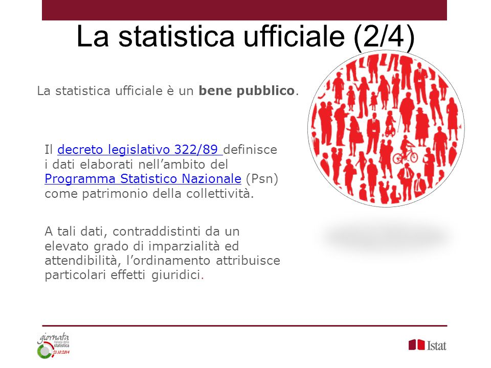 La statistica ufficiale è un bene pubblico. Il decreto legislativo 322/89 definisce i dati elaborati nell'ambito del Programma Statistico Nazionale (P